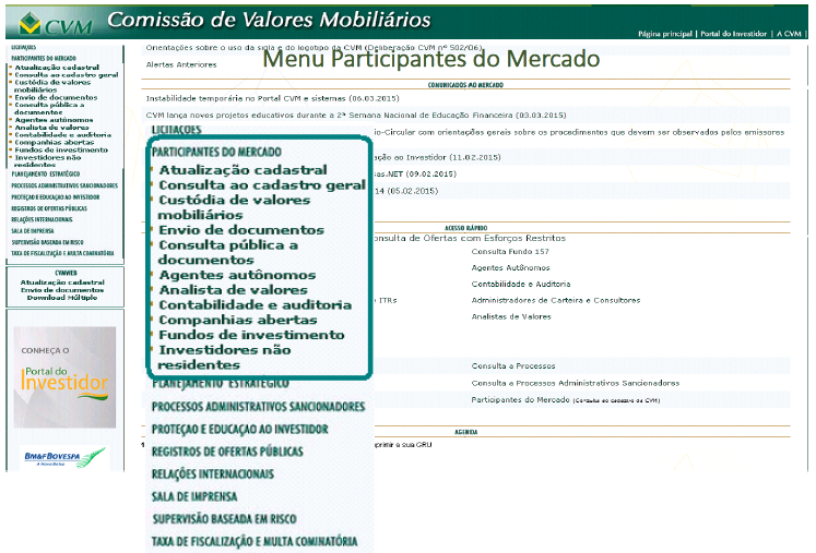 Menu Participantes do Mercado - Versão Anterior do Portal CVM