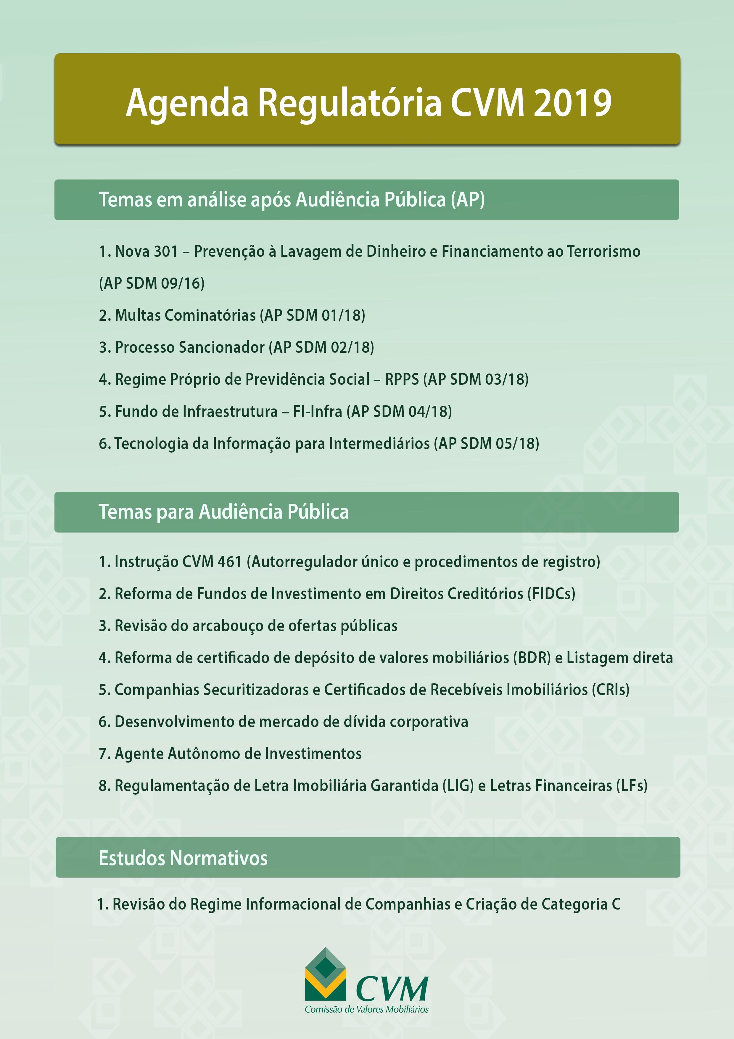 Agenda Regulatória CVM 2019